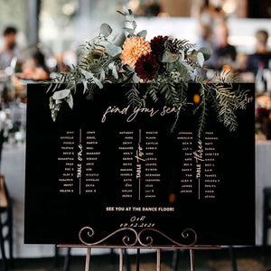 Black And Gold Acrylic Table Seating Sign