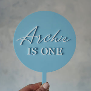 Personalised First Birthday Round Cake Topper