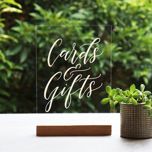 Acrylic A5 Classic Cards And Gifts Sign - FoxAndHart