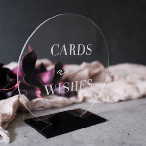 Acrylic Round Cards And Wishes Sign, Laser