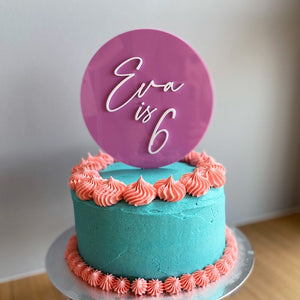 Acrylic Pink Birthday Cake Topper