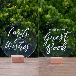 Acrylic Round Classic Cards and Guest Book Wedding Set