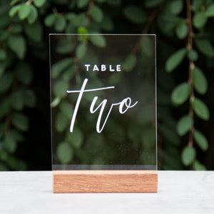 Hire Me: Acrylic A5 Modern Table Number Sign + Stand - FoxAndHart
