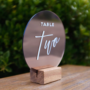 Acrylic Round Modern Bronze Mirror Table Numbers - FoxAndHart