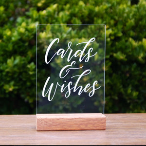 Hire Me: Acrylic A5 Classic Cards And Wishes Sign + Stand - FoxAndHart