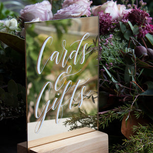 Hire Me: Acrylic A5 Classic Gold Mirror Cards And Gifts Sign + Stand