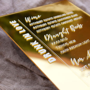Acrylic Modern Gold Bar Menu