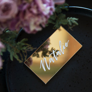 Acrylic Classic Gold Mirror Place Card