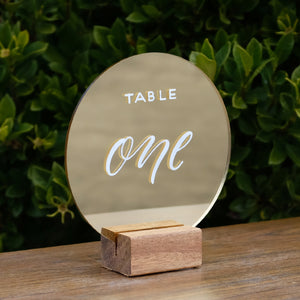 Acrylic Round Modern Gold Mirror Table Numbers