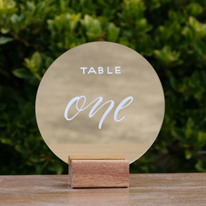 Acrylic Gold Mirror Round Table Numbers
