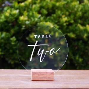 Hire Me: Acrylic Round Modern Table Number Sign + Stand - FoxAndHart
