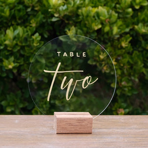 Round Acrylic Modern Table Numbers - FoxAndHart