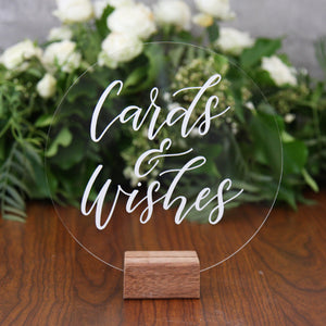 Acrylic Round Classic Cards And Wishes Sign - FoxAndHart