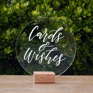 Hire Me: Acrylic Round Classic Cards And Wishes Sign + Stand