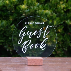 Hire Me: Acrylic Round Classic Guest Book Sign + Stand - FoxAndHart