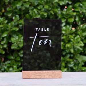 Acrylic A5 Modern Tint Black Table Numbers - FoxAndHart