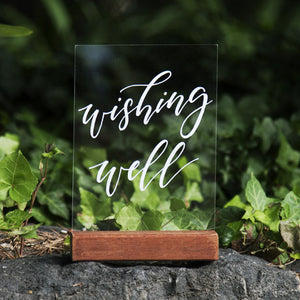 Hire Me: Acrylic A5 Classic Wishing Well Sign + Stand - FoxAndHart