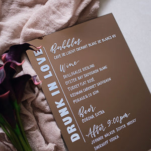 Acrylic Modern Bronze Bar Menu