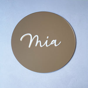 Acrylic Round Gold Mirror Name Sign