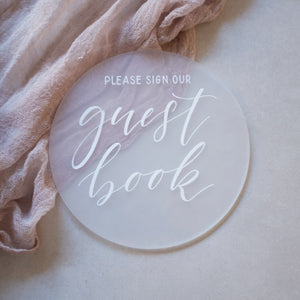 Acrylic Round Frosted Classic Guest Book Sign