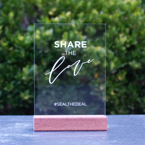 Laser Acrylic Share The Love Hashtag Sign