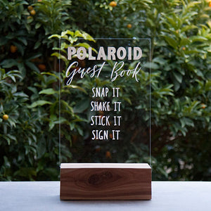 Hire Me: Acrylic A4 Polaroid Guest Book Sign + Stand - FoxAndHart