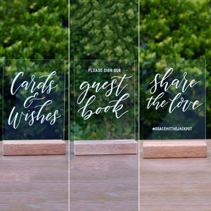 Acrylic A5 Classic Wedding Cards, Guest Book & Share The Love Set