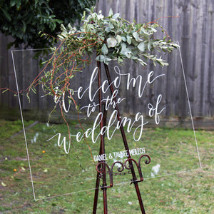 Acrylic Welcome To Our Wedding Sign - FoxAndHart