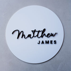 Acrylic Round Name Sign