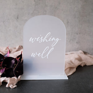 Acrylic Arch Frosted Wishing Well Sign