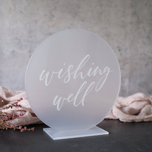 Acrylic Round Frosted Wishing Well Sign
