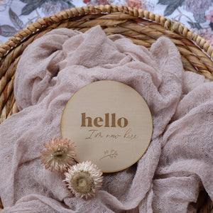 Wooden 'Hello I'm New Here' Baby Announcement Plaque, Rainbow