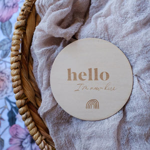 Wooden 'Hello I'm New Here' Baby Announcement Plaque, Flower