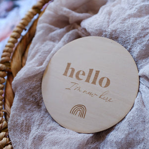 Wooden 'Hello I'm New Here' Baby Announcement Plaque