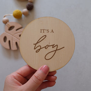 Wooden It's A Boy / Girl Announcement Discs