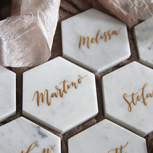 Marble Hexagon Classic Coaster Place Cards - FoxAndHart