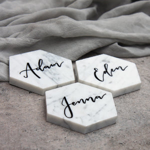 Marble Place Cards Hexagon - FoxAndHart