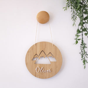 Wooden Mountain Round Name Sign
