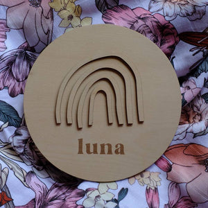 Wooden Round Rainbow Name Plaque