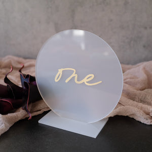 Acrylic Round Frost With Gold Table Numbers