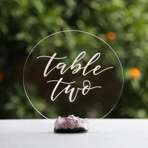 Acrylic Round Table Numbers - FoxAndHart