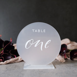 Acrylic Frosted Round Modern Table Numbers With Acrylic Base