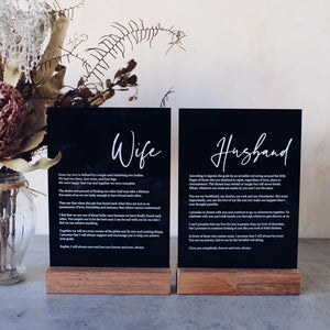 Acrylic Wedding Vows Sign