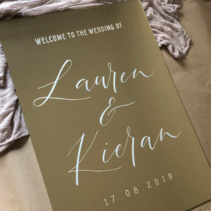 Acrylic Portrait Modern Gold Mirror Welcome Sign