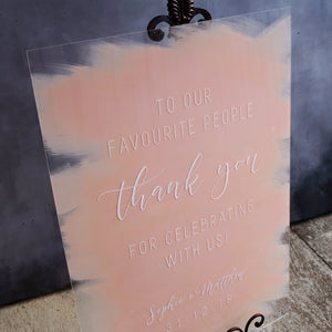 Acrylic Portrait Classic Blush Welcome Sign