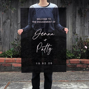 Acrylic Portrait Modern Transparent Black Welcome Sign, Vinyl