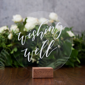 Hire Me: Acrylic Round Classic Wishing Well Sign + Stand - FoxAndHart