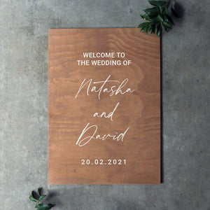 Wooden Portrait Welcome Sign