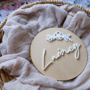 Wooden Acrylic Round Name Sign With Flower