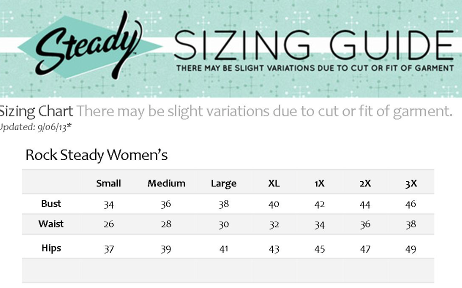 Steady Size Chart